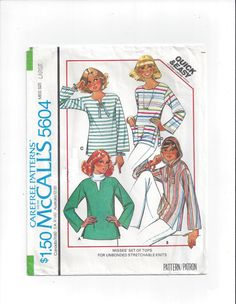McCall's 5604 Pattern for Misses' Set of Tops, Size 18-20 Large, From 1977, Hooded Tunic, Quick & Easy, Vintage Pattern, Home Sewing Pattern by VictorianWardrobe on Etsy