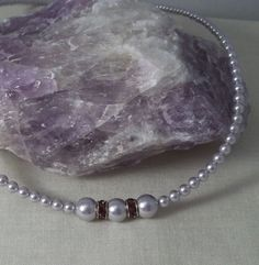 Lavender Swarovski Pearl Silver Plated Rhinestone Necklace, Single strand. $45.00, via Etsy.