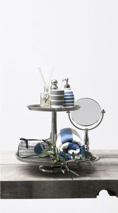 AUDREY mug and dispenser, ASTRID BATH mirror and MELDA STRIPE towel. Lene Bjerre spring 2014.