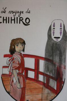 Illustration fanart Le voyage de Chihiro Aquarelle et crayons de couleurs Format A5 de la boutique SwordandStar sur Etsy
