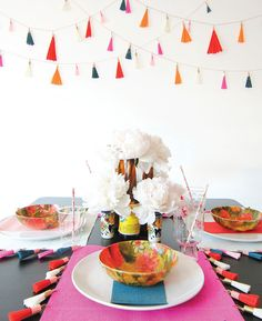 washi tape and crepe paper tassels #washitape