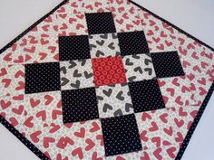 Valentine Quilted Table Topper Quilted by ForgetMeNotQuilteds