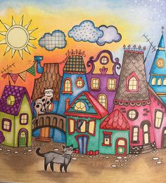 House drawing illustration cityscapes 49 Trendy ideas a house House Drawing, Drawing Drawing, House Quilts, Happy Paintings, Naive Art, Ceramic Painting, Whimsical Art, Doodle Art, Cat Art
