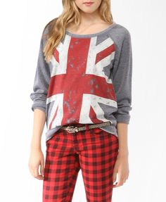 I cut the neck to make it a bit slouchier, and off-one-shoulder | Distressed Union Jack Pullover #forever21
