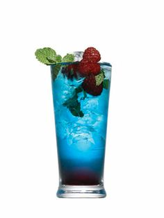 Berry Mojito!!!   5 Fresh Mint Leaves  1 t. granulated sugar  4 Lime wedges, juiced   2 oz. Becardi Razz  1/4 oz. Chambord  1/4 oz. Blue curacao  Splash of club soda  Garnish: Mint, Raspberries, Blueberries.  In a tall glass crush mint with a fork.  Add sugar and lime juice; stir. Add Bacardi, Chambord, and Blue Curacao;mix. Top with club soda; Garnish