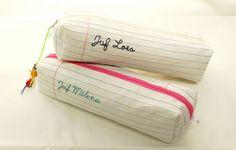 Lijntjes en schoonschrift by Polkadotjes, met uitleg  hoe je stof moet verstevigen én welk garen je best gebruikt.