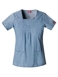 Dickies New Blue Square Neck Top Square Neck Top, Blue Square, Womens Scrubs, Medical Scrubs, Scrub Tops, New Blue, Cotton Lights, Short Sleeve Dresses, Tunic Tops