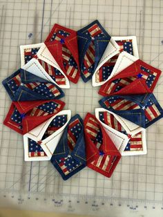 Patriotic Fold n Stitch Wreath