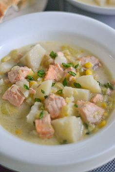 Salmon Chowder - Salu Salo Recipes left out corn and leeks and added sweet onion and yellow orange and red peppers diced.