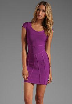 STRETTA Miguelina Cap Sleeve Dress in Electric Plum