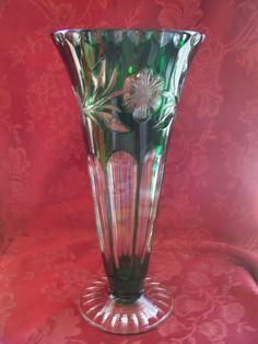 "Vintage Bohemian Czech Emerald Green Cut to Clear Lead Crystal Vase 10.5""   eBay"