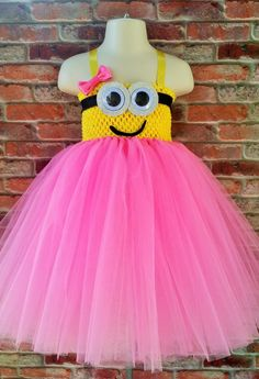 Minion inspired tutu dress. Pink minion. Blue minion. Despicable me tutu dress. Halloween outfit. Minion Halloween costume. girls costume