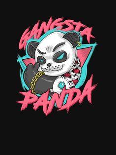 'Gangsta Panda' T-Shirt by Cartoon Crazy, Dope Cartoon Art, Arte Hip Hop, Hip Hop Art, Character Illustration, Illustration Art, Care Bear Tattoos, Ballon Animals, Panda Lindo
