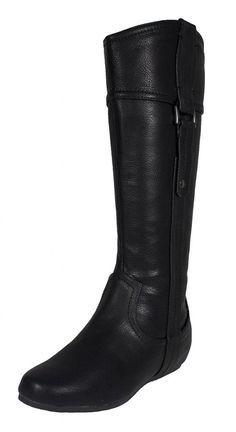 Lokia! By Soda Knee High Vertical Buckle Strap Flat Riding Boots in Black Leatherette -- Trust me, this is great! Click the image. : Knee high boots
