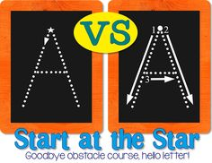 Start at the Star: goodbye obstacle course, hello letter! A great strategy for beginning writing in the preschool/ prek classroom! Prek Literacy, Preschool Kindergarten, Early Literacy, Teaching Handwriting, Teaching Writing, Classroom Helpers, Classroom Fun, Early Learning, Learning Tools