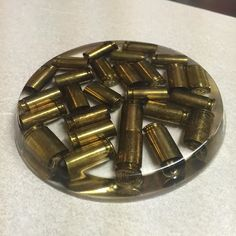 Another epoxy resin coaster. This time, it's spent brass. #coaster #imadethis #handmade #bullet #epoxy #9mm