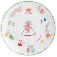 Assiette à dessert 21 cm en porcelaine de la collection Souricettes