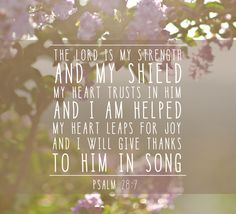 (Psalm 28:7 NIV)  The Lord is my strength and my shield; my heart trusts in him, and he helps me. My heart leaps for joy, and with my song I praise him.