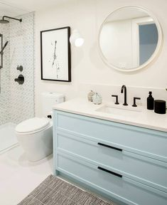 Colorful custom Millwork makes the world a happier place. Ikea Hack Bathroom, Ikea Bathroom Vanity, Bathroom Drawers, Condo Bathroom, Bathroom Kids, Ceramic Tile Floor Bathroom, Room Design Bedroom, Powder Room Design, Upstairs Bathrooms
