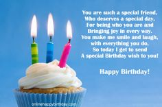 MOVING FLAMES of Cupcake with three lit striped candles for a special friend, wishes for a special day.  . #DdO:) - https://www.pinterest.com/DianaDeeOsborne/happy-birthday-facebook/ - HAPPY BIRTHDAY, FACEBOOK!  Photo source: Happy Birthday Online » You Can Find Birthday Cards, #Birthday E-cards
