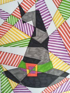 Playing with pattern, abstract witch's hat art activity for kids. Great for learning about colour