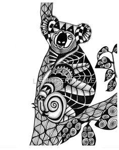 Zentangle Inpired Koala Print