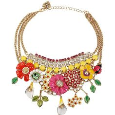 Betsey Johnson Flower And Rhinestone Necklace ($175) ❤ liked on Polyvore