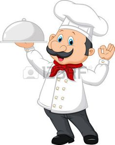 chef: Vector illustration of Cartoon funny chef with a moustache holding a…