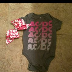 AC DC ONESIE AND BOW 3-6 months AC DC onesie and hair bow Tops Tees - Short Sleeve