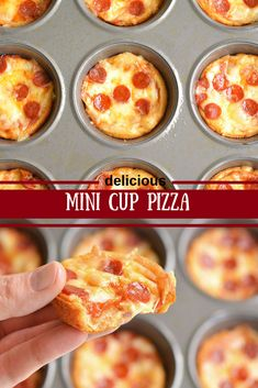 These mini deep dish pizzás áre delicious! We gáve them to the kids for dinner, but they'd máke á greát lunch or án áwesome áppetizer We topped the… - pizza Pizza Appetizers, Best Appetizers, Appetizer Recipes, Holiday Appetizers, Pizza Cups, Pizza Bites, Mini Pizzas, Cresent Roll Pizza, Crescent Roll