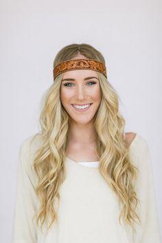 Bohemian Leather Headband Hippie Head Piece Tie by ThreeBirdNest