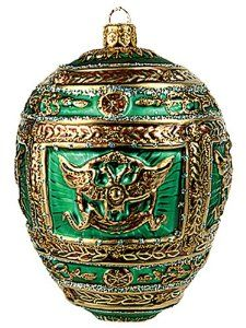 Green Napoleon Faberge-Inspired Easter Egg Ornament