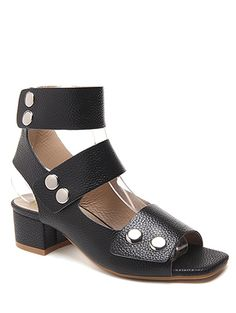Chunky Heel Button Solid Color Sandals