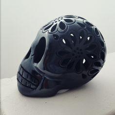 Mexican Black pottery from Oaxaca - flower skull