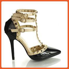 Wild Diva Women Studded Ankle Straps Stiletto High Heel Pumps Black Pat (5.5 B(M) US, Black Wine Lace) - Pumps for women (*Amazon Partner-Link)