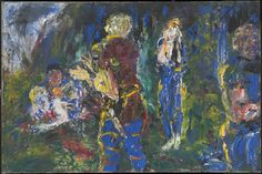 Artwork page for 'The Death of Diarmuid, the Last Handful of Water', Jack Butler Yeats, 1945 Leeds Art Gallery, Aberdeen Art Gallery, Gallery Of Modern Art, Irish Painters, Jack B, Irish Art, Water Art, Art Uk, Your Paintings
