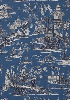 CHENG TOILE, Navy, T75465, Collection Dynasty from Thibaut