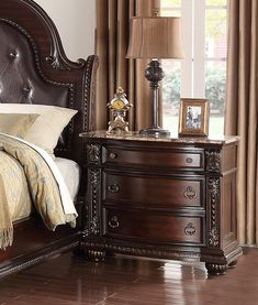 The Stanley Bedroom Collection by Crown Mark features a brown finish with elaborately carved patterns and elegant design. It is a perfect choice for any bedroom. Bring Europe home with the Stanley Collection. Sleigh Bedroom Set, Bedroom Sets, Home Decor Bedroom, Trendy Bedroom, Bedroom Wall, Diy Bedroom, Bedroom Dressers, Bedroom Furniture, Home Furniture