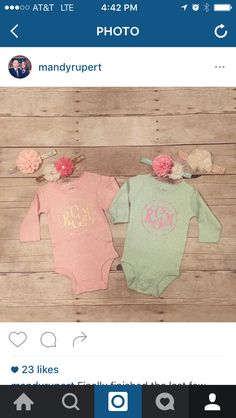 Baby girl onesies and matching headbands
