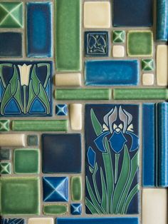 Beautiful Motawi Tile For Wall Ornament Ideas: Motawi Tile Flowers For Wall Ornament Ideas Motifs Art Nouveau, Azulejos Art Nouveau, Art Nouveau Tiles, Craftsman Tile, Craftsman Decor, Craftsman Homes, Bungalow Homes, Tile Art, Mosaic Art