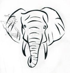 Unique Black Outline Elephant Head Tattoo Stencil By Silverheartx Elephant Face Drawing, Elephant Head Tattoo, Simple Elephant Tattoo, Elephant Tattoo Design, Simple Elephant Drawing, Elephant Stencil, Elephant Outline, Elephant Art, Elephant Meaning
