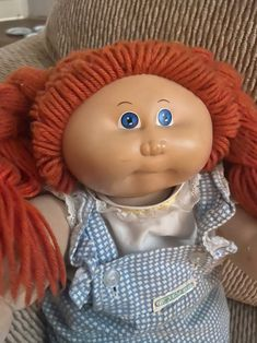 Vintage 1978 16 Inch Cabbage Patch Kid Signed (Number 1 Head). Condition is Used. Rare Cabbage Patch Kids Blue eyes. Original Cabbage Patch outfit and diaper. Vintage Cabbage Patch Dolls, Cabbage Patch Kids Dolls, Grandmothers Love, Cabbages, Doll Accessories, Vintage Children, Vintage Toys, Blue Eyes, Kids Toys