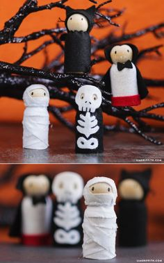 DIY Halloween Witch Peg Dolls Looking for some fabulous kids crafts for Halloween? Spend an afternoon crafting these witch peg dolls with your kids to prepare for the spooky holiday! Holidays Halloween, Fall Halloween, Halloween Crafts, Holiday Crafts, Halloween Decorations, Diy Halloween Ornaments, Halloween Labels, Halloween Witches, Wood Ornaments