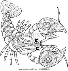 coloring pages - Vector Coloring Book Adult Silhouette Cancer Stock Vector (Royalty Free) 636640243 Fish Coloring Page, Animal Coloring Pages, Coloring Book Pages, Printable Coloring Pages, Coloring Sheets, Mandala Art, Mandala Coloring, Fabric Painting, Doodle Art