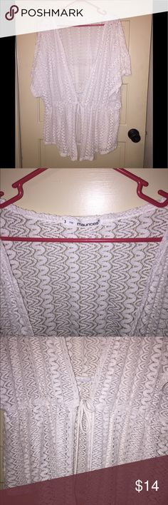 White Tie Front Shrug White stretch lace shrug with tie in front. Elastic waist. EUC Maurices Sweaters Shrugs & Ponchos