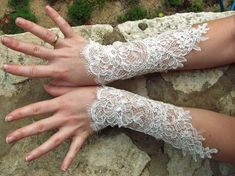 Make these with leftover lace from Annie's bridal gown? NEW Egyptian Bellydance white bridal lace cuffs by maryandangelika, $39.90