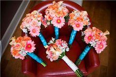 Teal and Coral Beach Wedding   WeddingAces
