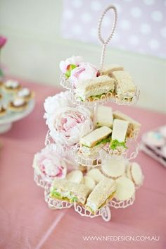 Use a cupcake stand to display finger sandwiches a