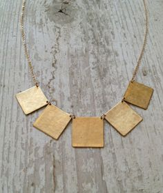 Five Square Brass Banner Necklace by OPHINE on Etsy 4cf16d6f6f76