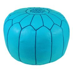 Leather pouf in sky blue with an embroidered design. Handmade in Morocco.   Product: PoufConstruction Material: Genu...